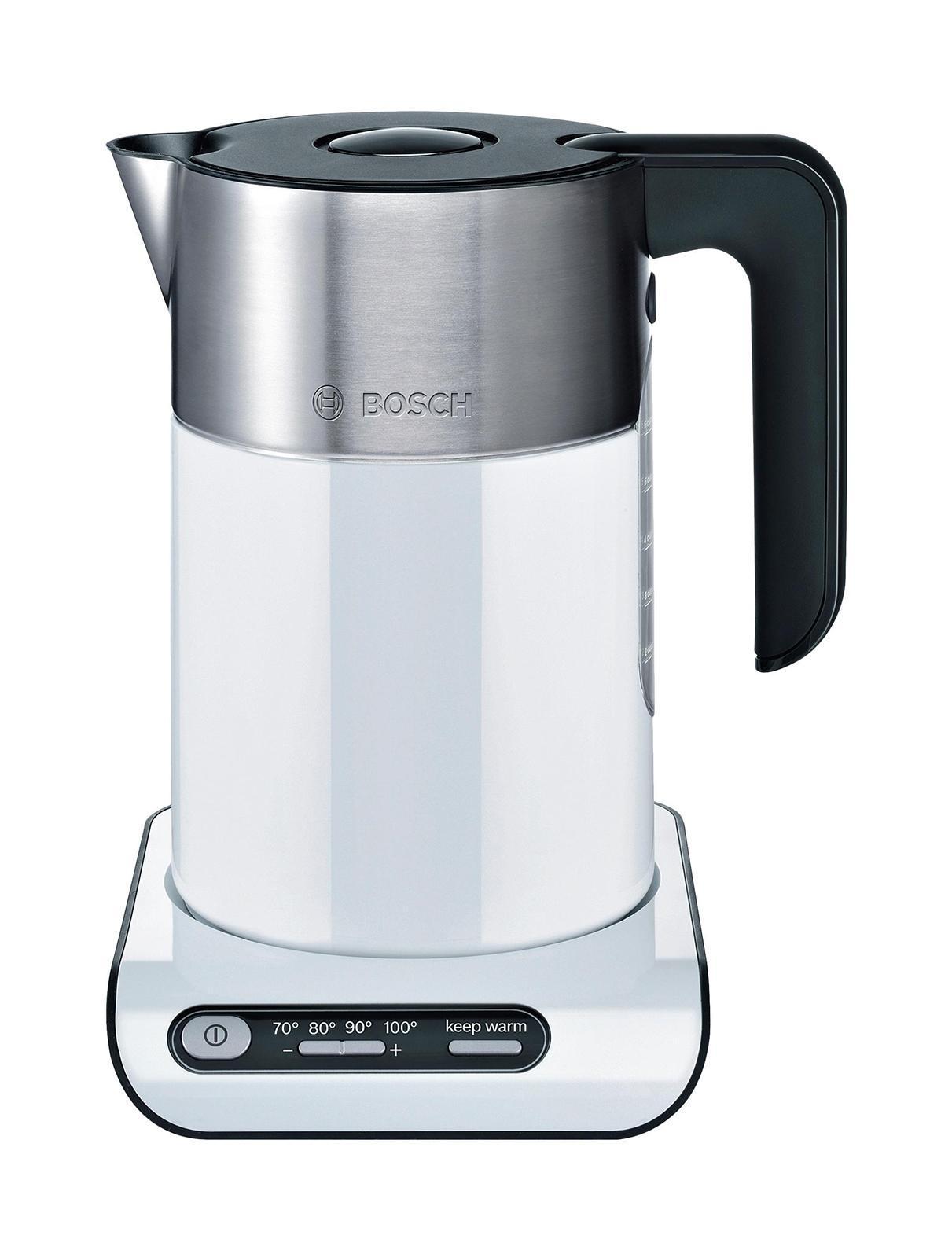Bosch TWK 8611, электрочайникTWK 8611 StylineЭлектрический чайник Bosch TWK 8611 в стильном корпусе из термостойкого пластика с декоративными элементами из нержавеющей стали гармонично сочетает в себе великолепный дизайн и современные технологии. Прибор позволяет не только кипятить воду, но и нагревать её до заданной температуры без кипячения для приготовления различных напитков. Скрытый нагревательный элемент снижает образование накипи и ускоряет нагрев воды, а съемный моющийся фильтр предотвращает попадание мелких частиц накипи в чашку, вода всегда будет чистой и приятной на вкус. Функция автоматического отключения со звуковым сигналом обеспечивает безопасное и максимально комфортное использование прибора.Электрические чайники Bosch имеют дно из нержавеющей стали, под которым скрыт нагревательный элемент. Этот материал не влияет на вкусовые качества напитков, долговечен и легко чистится. Фильтр от накипи из нержавеющей стали в носике прибора препятствует попаданию частиц накипи в чашку. Центральный контакт позволяет ставить чайник на цоколь в любом положении.
