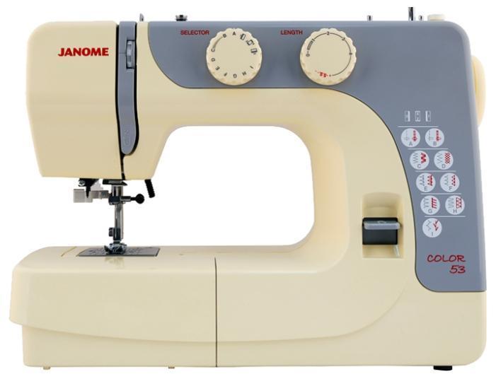 Janome Color 53 швейная машина53Электромеханическая швейная машина Janome Color 53 имеет приятный для восприятия мягкий приглушенный цвет. Она имеет оптимальный набор строчек для качественного шитья. А с помощью встроенного нитевдевателя Вы без труда проденете нитку в иголку.