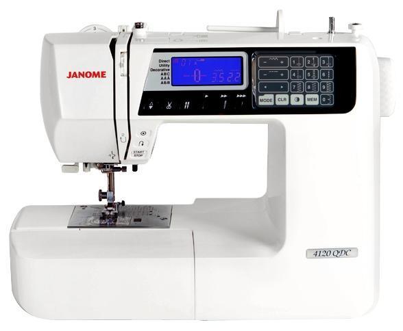 Janome QDC 4120 швейная машинаQDC 4120Компьютерная швейная машина Janome 4120 QDC станет помощником в осуществлении творческих идей для профессиональных портных и рукодельниц. Великолепный набор строчек, в том числе для декоративного шитья и квилтинга, 7 видов петель, монограммы, встроенная память для создания своих неповторимых комбинаций, все это и многое другое не оставит равнодушным даже самого требовательного покупателя!