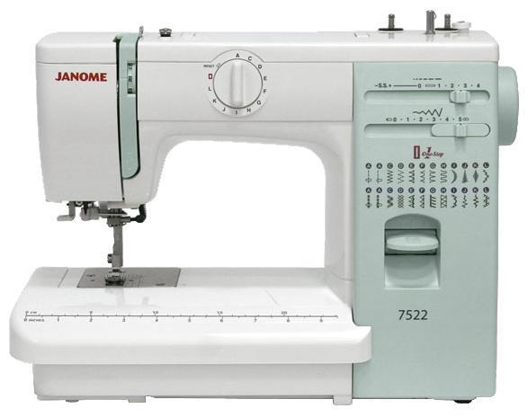 Janome 7522 швейная машина7522Электромеханическая швейная машина Janome 7522 предлагает все необходимые функции для комфортного шитья. Встроенный нитевдеватель поможет быстро начать работу. Функция «петля-автомат» позволит Вам качественно и без проблем выполнить одинаковые петли. Для удобства шитья на панель нанесена разметочная линейка в сантиметрах и дюймах. А благодаря регулятору давления лапки на ткань Вы с одинаковой легкостью сможете шить как шелк, так и джинсу. Janome 7522 подойдет и для любителей шитья, и для новичков в швейном деле, которые хотят получить больше комфорта по доступной цене. Особенности серии ArtDecorОригинальный дизайн в стиле пэчворк. Оптимальный набор швейных операций (ArtDecor 718A – 19, ArtDecor 724A/724E – 25). Строчки удобно расположены на уровне глаз.Теперь, переключая швейные операции, не нужно задумываться какие параметры строчки выставить. На панели с подсказками Вы увидите рекомендуемые: длину стежка, ширину строчки и натяжение верхней нити. Дополнительные принадлежности удобно хранить на верхней панели машины и в съемном отсеке для аксессуаров.Благодаря встроенному нитевдевателю не нужно напрягать зрение, чтобы вдеть нитку в игольное ушко.3-ступенчатый регулятор давления лапки на ткань поможет Вам существенно расширить диапазон прошиваемых тканей. Благодаря регулятору скорости прошивая трудные места, где требуется повышенное внимание и аккуратность, Вы можете уменьшить скорость вплоть до пошаговой (только ArtDecor 724E). С помощью кнопки позиционирования иглы легко запрограммировать положение иглы в конце шитья внизу или вверху (только ArtDecor 724E).