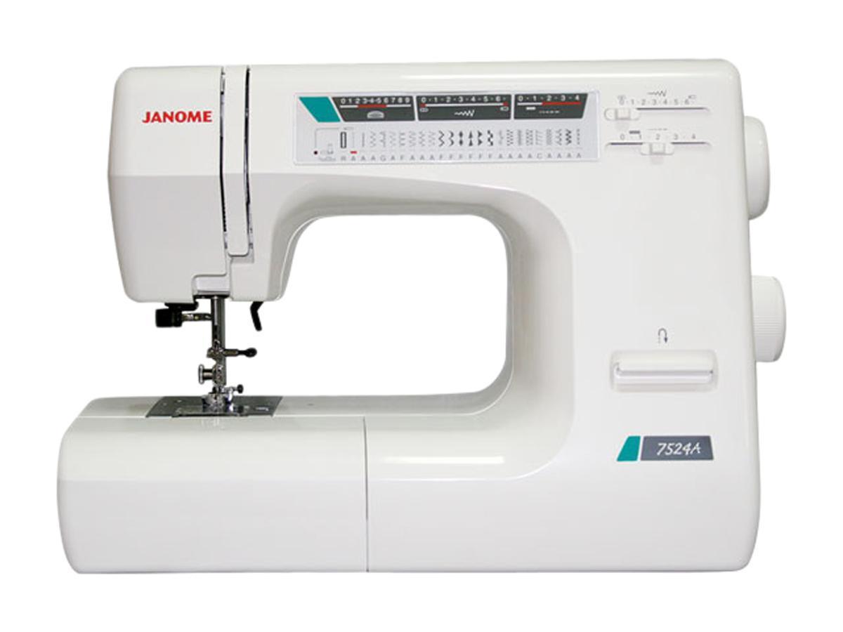 Janome 7524 A швейная машина7524 АЭта швейная машина построена на базе Janome 7524E и отличается от нее отсутствием электронного блока. Машина выполняет практически все необходимые для повседневного шитья строчки, среди которых несколько оверлочных и несколько строчек для работы с трикотажем, а также машина выметывает бельевую петлю в автоматическом режиме. Janome 7524A имеет мощность достаточную для работы с любыми тканями. При этом машина оснащена регулятором давления лапки на ткань, что позволяет работать с тонкими, тянущимися и другими проблемными тканями.