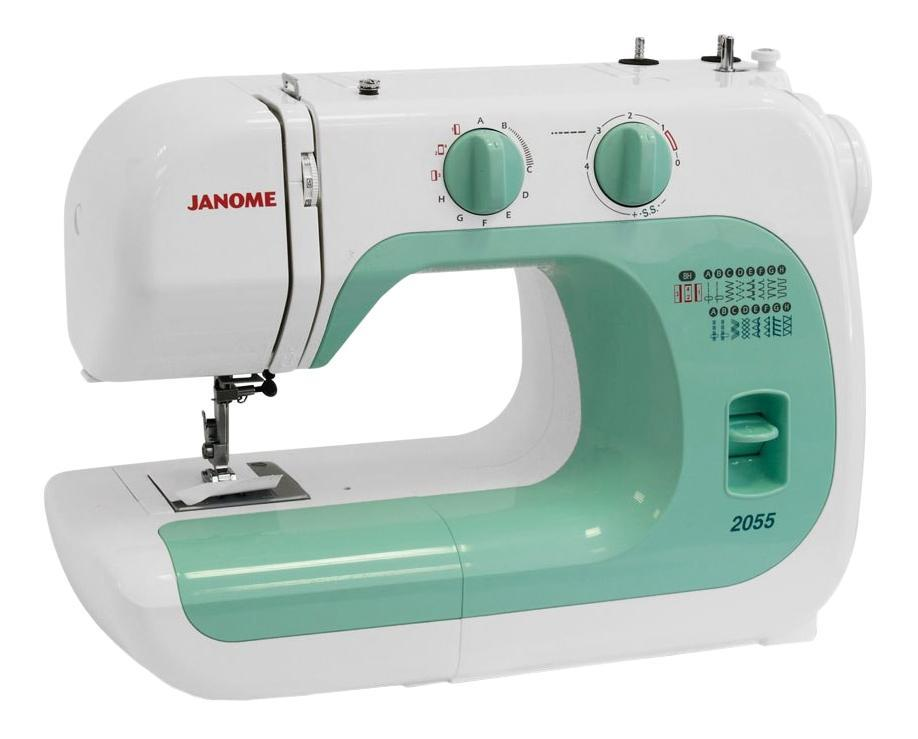 Janome 2055 швейная машина2055Легкая в использовании швейная машина, идеально подходит как для начинающих, так и для более опытных пользователей. Машина великолепно работает с разными видами тканей.Отличительные особенности:Электромеханическая швейная машина15 швейных операцийрабочие строчкипотайные строчкиоверлочные строчкитрикотажные строчкидекоративные строчкипетля-полуавтоматРегулировка длины стежка от 0 до 4 ммРегулировка ширины зигзага до 5 ммРегулятор натяжения верхней нитиВертикальный челнокРычаг обратного ходаЛегко пристегивающаяся лапкаДополнительный подъем лапкиВстроенный нитеобрезательПереключатель нижнего транспортераДва металлических вертикальных катушечных стержняСвободный рукавОтсек для хранения аксессуаровГарантийный срок 2 годаПроизводство ТаиландНабор аксессуаров:Универсальная лапка AЛапка для вшивания молнии односторонняяЛапка для потайной строчкиРамка для полуавтоматической петлиШпульки пластиковые 4шт. (3шт. и 1 в машине)Набор игл 3шт.Двойная иглаВспарывательМалая отверткаВиниловый чехол
