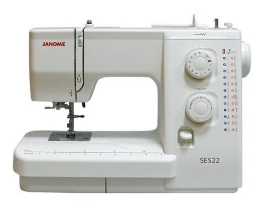 Janome SE 522 швейная машинаSE522Простая и удобная в эксплуатации швейная машина идеально подходиткак для начинающих, так и для более опытных пользователей.Функция петля-автомат за один шаг позволит Вам быстро и качественновыполнить одинаковые петли. Машина работает с различными видамитканей. Встроенный нитевдеватель упростит и ускорит процесс вдеваниянити в иглу. С регулятором длины и ширины стежка Вам удастся ещебольше разнообразить свою работу.