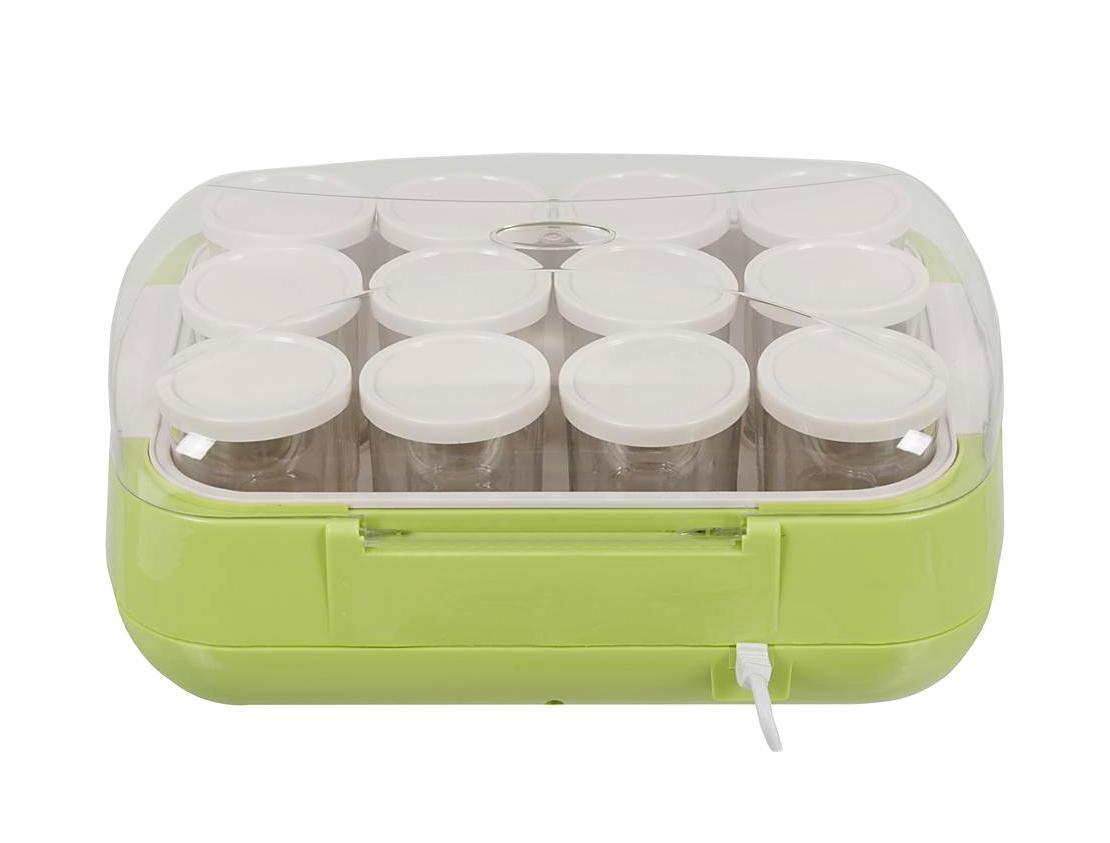 Brand 4002, Green йогуртница4002 зеленаяС йогуртницей BRAND 4002 легко готовить здоровые завтраки для всей семьи. В комплект входит 12 стеклянных стаканчиков по 200 мл - можно одновременно делать йогурты с разными вкусами.Порадуйте друзей домашним творожным десертом с малиной, банановым коктейлем или йогуртовым мороженым. В инструкции есть подробные рецепты приготовления разных кисломолочных блюд. Загрузите ингредиенты в емкости и установите таймер. Закончив работу, устройство отключится автоматически.