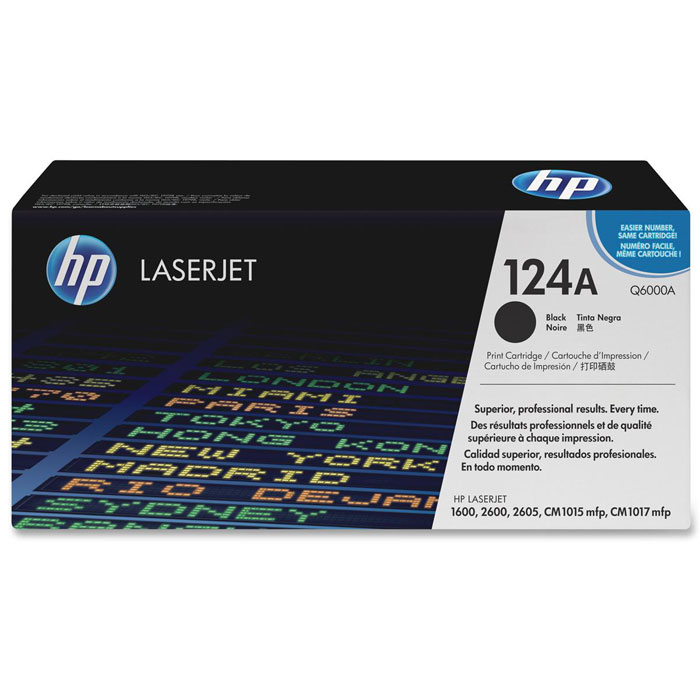 HP Q6000A, Black тонер-картриджQ6000AКартридж HP 124A с тонером ColorSphere для принтеров HP Color LaserJet 1600/2600/CM1015 MFP.