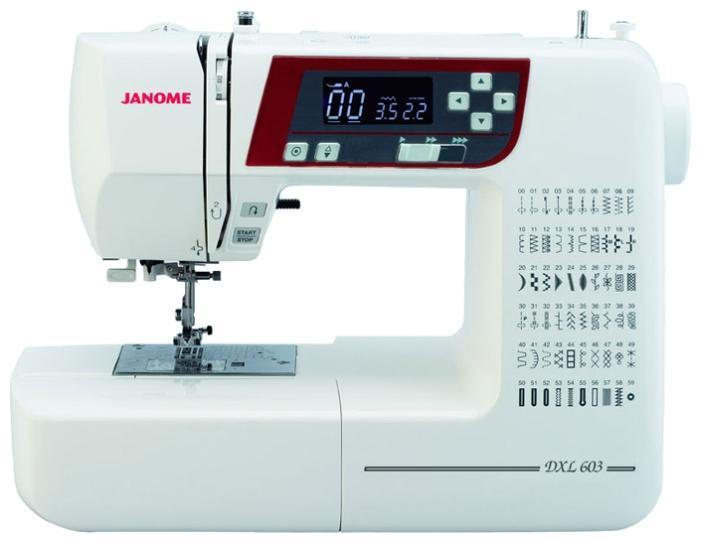 Janome 603 DC швейная машина603Новинка! Стильная и компактная швейная машина Janome 603 DC. Машина оснащенаполным набором декоративных и швейных функций. С компьютерной точностью, изготовление любых швейных изделий становится легким и быстрым. Машина понравится как профессионалам, так и любителям пэчворка и квилтинга. Используя уникальную угловую шкалу на игольной пластине, можно легко прошивать части пэчворка, под нужным углом.Janome 603 DC - отличная модель!
