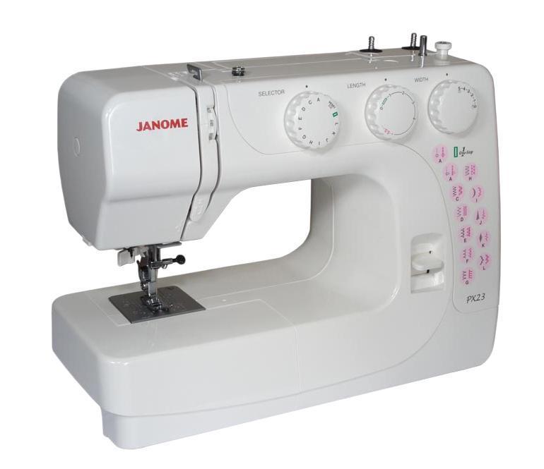 Janome PX-23, White швейная машинаPX23Компактная электромеханическая швейная машина Janome PX-23 выполняет 23 видов строчек и петлю в полу автоматическом режиме. Машина хорошо справляется с различными типами тканей. Достаточная функциональность швейной машины Janome PX-23 для использования ее не только для ремонта одежды, но и для пошива изделий из различных тканей и материалов.Мощный двигатель и металлическое основание швейной машины JanomePX-23 позволят работать как с легкими, так и с тяжелыми тканями.Машина отличается хорошим качеством сборки, надежностью и удобнымполноценным управлением.Вы сможете подшивать потайной строчкой,обрабатывать края, шить трикотаж, в технике пэчворка и квилтинга,украшать Ваши творения декоративными строчками. В швейной машиныJanome PX-23 также имеется плавная регулировка длины и шириныстежков и автоматический нитевдеватель.
