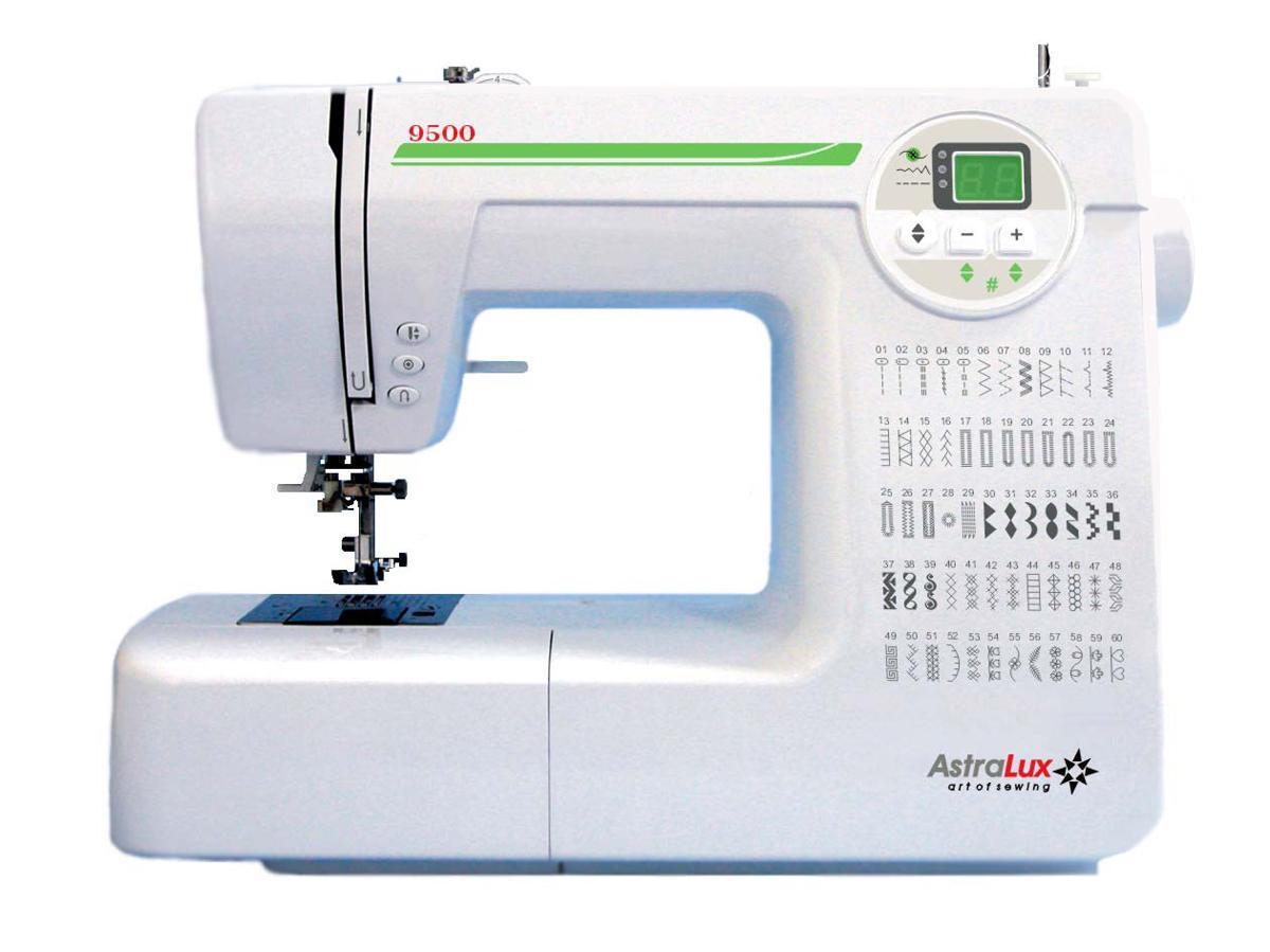 Astralux 9500 швейная машинка9500AstraLux 9500 — многофункциональная электронная машина с горизонтальным ротационным челноком, обладающая большим набором операций (60 операций), в том числе 50 строчек и 10 — автоматических петель. Эта модель сможет удовлетворить, как опытную мастерицу, так и у новичка, работа на ней не вызовет трудностей. По душе она придется и любителям квилтинга и пэчворка . Швейная машина надежна и проста в использовании. Это отличный вариант для домашнего использования. С таким богатым набором строчек, вы сможете производить пошив одежды из любой ткани, даже самой плотной. Разработчиками предусмотрен подъем лапки на 11 миллиметров. К особенностям этой модели можно отнести — измерение размера пуговиц, встроенный советник, ЖК-дисплей, расширение рабочей поверхности. Чтобы выполнить столько операций в комплект входит набор таких лапок как: универсальная, оверлочная, направляющая для выстегивания, для пуговиц и молний, декоративных строчек (прозрачная), потайной подшивки низа, автоматического выметывания петли. Швейная машина AstraLux 9500 оборудована эксклюзивной игольной пластиной. Эта универсальная модель позволит создать вам неповторимые предметы декора и одежды.