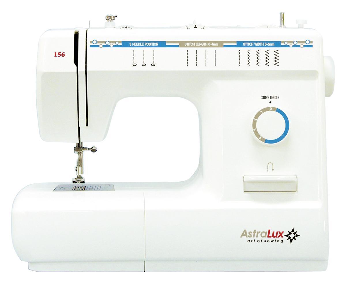 Astralux 156 швейная машинка156Электромеханическая швейная машина Astralux 156 работает с любыми видами тканей, как с тонкими, так и с плотными материалами.Вертикальный челнок обеспечивает надежность и создает удобство в работе. Модель снабжена автоматическим переключением на холостой ход при намотки нити на шпульку, нитеобрезателем, реверсом, в комплект входят 4 лапки. Рукавная консоль позволяет обработать манжеты, рукава, штанины и любые круговые детали.Благодаря нанесенным на игольной пластине направляющим линиям, вы сможете прокладывать строчки ровно и без проблем.Швейная машина Astralux 156 имеет плавную регулировку скорости шитья, длины стежка и ширины строчки. Подсветка рабочей поверхности позвляет работать без напряжения Вашего зрения.