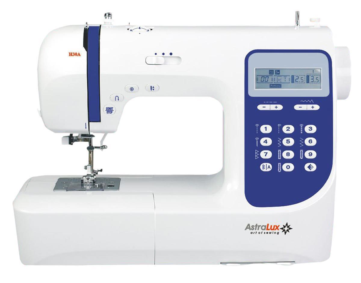 Astralux H30A швейная машинкаH30AТеперь Вам доступны такие возможности как: рабочие операции, эластичные cтрочки для трикотажных тканей,декоративные иоверлочные строчки, тайная подшивка низа, квилтинг и пэтчворк, штопка, выполнение монограмм, аппликаций, вышивки, художественная отделка ваших изделий,ремонтные работыи т.п.Шить на такой машине одно удовольствие! Ваши фантазия и умение, в сочетании с такой машиной – великолепные возможности для творчества!