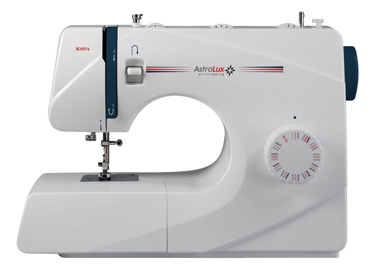 Astralux K60A швейная машинкаK60AРасширенные возможности: рабочие операции, эластичные строчки для трикотажных тканей, декоративные и оверлочные строчки, потайная подшивка низа, квилтинг и пэтчворки т.д.