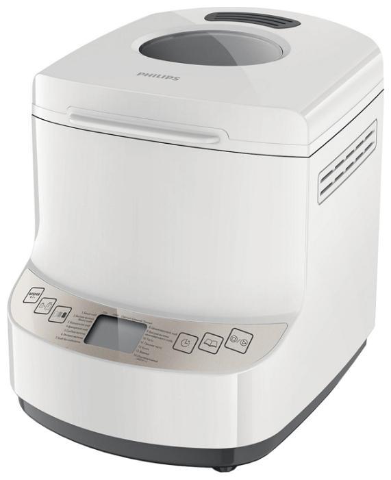 Philips HD9045/30 хлебопечьHD9045/30Вы полюбите этот незабываемый запах свежего теплого хлеба по утрам! Все так просто... вечером добавьте ингредиенты, установите таймер отсрочки старта на утро, и хлебопечь Philips HD9045/30 сделает все сама. 14 программ для выпечки хлеба, приготовления теста и даже вареньяХлебопечь Philips имеет 14 простых программ для выпечки любой сложности - от полезного цельнозернового до французского хлеба, хлеба без глютена и сладкой выпечки. В ней также можно испечь сдобу по оригинальным рецептам, например бородинский хлеб или пасхальный кулич, а также приготовить прекрасное пресное тесто или даже варенье. С хлебопечью Philips выпечка всегда будет вкусной и простой в приготовлении. Имеющиеся программы обеспечивают оптимальную температуру и время приготовления для различных видов выпечки. Если у вас мало времени, можно воспользоваться программой ускоренного выпекания или даже экспресс-выпекания, при которой выпечка будет готова за один час. 2 размера буханки, буханка весом до 1 кгВыпекайте хлеб нужного размера. Просто выберите размер буханки на панели управления - средний (750 г) или большой (1000 г). 3 степени подрумянивания корочки на любой вкусБлагодаря усовершенствованной системе контроля температуры хлебопечь Philips VIVA позволяет испечь хлеб на любой вкус - просто нажмите нужную кнопку на панели управления, и вы получите выпечку со светлой, золотистой или темной корочкой. Индикатор добавления ингредиентов для выпекания хлеба с добавкамиВо время замешивания теста хлебопечь издает звуковой сигнал, сообщающий о том, что можно добавить дополнительные ингредиенты. Продуманный дизайн - компактная форма и тихая работаХлебопечь отличается продуманным дизайном. Она работает очень тихо (55 дБа), а значит, разбудит вас только запахом свежего хлеба, а не шумом. Компактная форма позволяет разместить ее на любой современной кухне. Таймер отсрочки старта до 13 часов позволит испечь свежий хлеб к заданному времениНаслаждайтесь незабываемым вкусом и не