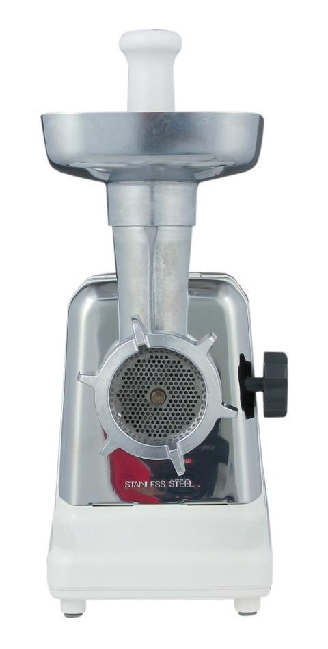 Panasonic MK-G1800PWTQ мясорубкаMK-G1800PWTQПрактичная и очень удобная в использовании электрическая мясорубка от компании Panasonic с прочной металлической конструкцией и функцией реверса.Переработка - до 1,6 кг/мин3 решетки с различным диаметром отверстийМаксимальная мощность мотора при заклинивании - 1800 ВтПотребляемая мощность при обычном использовании - 330 ВтСамозатачивающиеся кованые ножи из нержавеющей сталиФункция автореверсаАлюминиевый лоток для загрузкиМеталлические механизмы внутриПрерыватель цепи для защиты мотора от перегреваОтделение для хранения насадокОтделение для хранения шнура