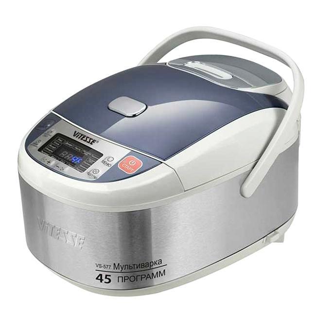 Vitesse VS-577 мультиваркаVS-577Мультиварка Vitesse VS-577 с шестнадцатью автоматическими программами приготовления. 3D нагрев обеспечивает более быстрое и равномерное распределение тепла. Внутренняя чаша с керамическим покрытием Eco-Cera позволяет готовить без масла. Мультиварка имеет ручка для удобного перемещения.
