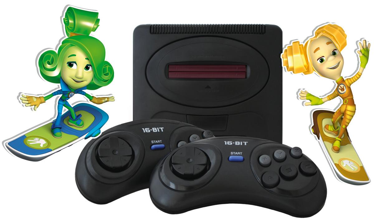 Телевизионная ФикСиПриставка Mega Drive 2 + 25 игрSG-1627 FXТелевизионная ФикСиПриставка Mega Drive 2 - это игровая телевизионная приставка, объединившая в себе лучшие ценности 16-битного игрового мира и оформленная в стиле популярного мультсериала «Фиксики»!Телевизионная ФикСиПриставка Mega Drive 2 обеспечивает качество игр на уровне аркадных игровых автоматов. А коллекция из 25 встроенных видеоигр не оставит равнодушным ни одного поклонника 16-битного геймплея: только самые популярные игровые хиты и любимые персонажи - Соник, Микки Маус, Черепашки Ниндзя, Том и Джерри, Червяк Джим и многие другие.Кроме развлекательной функции телевизионная ФикСиПриставка Mega Drive 2 также помогает своими играми развивать память и смекалку. В частности игры из коллекции Mega Drive 2: повышают внимательность к деталям (разбросанные по уровням ключи), память, мышление; улучшают координацию движений (зрительно - двигательную моторику); улучшают зрительное восприятие (чувство пространства); развивают воображение.