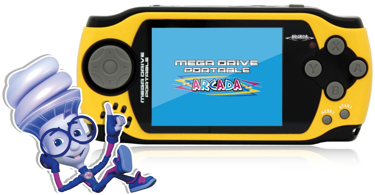 Игровая ФикСиПриставка Arcada 3 (105 игр), YellowVG-1629 FXИгровая ФикСиПриставка Arcada 3 - яркое игровое устройство из серии 16-битных портативных приставок с экраном 3 дюйма и 105 встроенными играми - отличный отдых и развлечение для всей семьи дома и в дороге! Оформлено устройство в стиле популярного мультсериала «Фиксики». Эргономичная форма корпуса:Игровая ФикСиПриставка Arcada 3 выполнена из специального ударопрочного пластика, а также имеет удобную эргономичную форму корпуса. Приставка имеет четырёхпазный джойстик слева, который обычно используются для движения, и шесть функциональных кнопок справа. Кнопки выполнены из удобного мягкого пластика. Удачное расположение кнопок и эргономичный дизайн корпуса позволяют Фикси-приставке удобно помещаться в руках и не напрягать кисти рук даже во время самых длительных игровых баталий.Бонус в 105 игр:В памяти игровой ФикСиПриставка Arcada 3 находится коллекция из 105 самых популярных видеоигр 16-битного геймплея. Важной особенностью коллекции игр Фикси-приставки является то, что в ней собраны не только простые игры для приятного времяпрепровождения детей и взрослых, но и специальные логические игры, которые тренируют память, развивают смекалку, быстроту реакции и конечно влияют на мелкую моторику рук. Список встроенных игр из коллекции игровой ФикСиПриставка Arcada 3 представлен в разделе Поддержка. Для ценителей хорошей графики:Игровая ФикСиПриставка Arcada 3 обладает трехдюймовым экраном с разрешением 320х240 точек. Дисплей выполнен по технологии CSTN (Color Super Twist Nematic), что обеспечивает поистине потрясающую яркость и контрастность - ощутите всю красочность и неповторимость графики Ваших самых любимых игр. Также приставка оборудована AV-выходом, благодаря чему устройство можно подключить к телевизору и проходить любимые игры на большом экране и навсегда забыть о стационарных консолях огромных размеров.Приятные дополнения:Если играть понемногу каждый день, полного уровня батареи хватит на неделю использования