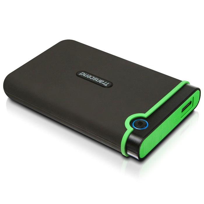Transcend StoreJet 25M3 2TB, Iron Gray внешний жесткий диск (TS2TSJ25M3)TS2TSJ25M3Портативное устройство Transcend StoreJet 25M3 сочетает в себе преимущества награжденной ударопрочной серии внешних жестких дисков StoreJet М компании Transcend и новейшей технологии сверхскоростной передачи информации SuperSpeed USB 3.0, что обеспечит максимальную скорость передачи данных и необычайную ударопрочность устройства для пользователя. Кроме всех вышеперечисленных достоинств, StoreJet 25M3 оснащен кнопкой мгновенного резервного копирования. Теперь вы можете выполнить моментальное резервное копирование, синхронизацию и копирование больших файлов без потери вашего времени.Произведен с применением технологии высокоскоростного USB 3.0 и совместим с USB 2.0 с обратной стороны устройстваИзносостойкий ударопоглощающий внешний резиновый кейсУлучшения система внутреннее защитной подвески жесткого дискаПростота в работе в режиме Plug and Play , без необходимости драйверовПитание от USB - нет необходимости во внешнем адаптореЭнергосберегающий спящий режимАвтоматическое резервное копирование в одно нажатиеЦветной LED индикатор (режим работы, передачи данных, тип подсоединения USB 2.0/3.0)В комплект входит ПО поддержки StoreJet Elite backupОбъем кэша: 8 МБСистемные требования: Windows XP/Vista/Windows 7, Mac OS X 10.4, Linux Kernel 2.6.31
