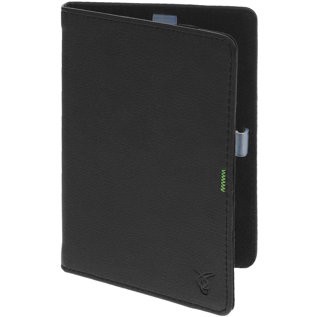 Vivacase GreenLine чехол-обложка для PocketBook 640/626/624/614/623/622, Black (VPB-FP622Bl)VPB-FP622BlЧехол Vivacase для PocketBook 611/613/624 из коллекции Green Line изготовлен из качественной ПУ-кожи сприятной текстурой и имеет заметный элемент на хлястике - прострочку фирменного салатового цвета компанииPocketBook.ПУ-кожа на жестком каркасе не только защищает вашу книгу от царапин, влаги и падений. Качественныйматериал, аккуратная прострочка и классический дизайн чехла сделают его отличным дополнением к вашемустилю.Внутренняя часть чехла отделана мягкой бархатистой тканью, а само устройство удерживают на месте четыре пластиковых фиксатора. Все кнопки и разъемы при этом остаются открытыми. Закрытым чехол удерживает эластичная резинка.