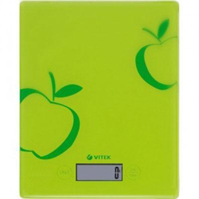 Vitek VT-2400, Green кухонные весыVT-2400 GreenЯркие, стильные кухонные весы привнесут изюминку в любую кухню. Они не только красивы визуально, но и очень точны при взвешивании разных продуктов. Стеклянное основание отличается простым уходом за ним. Поэтому все остатки от продуктов можно просто вытереть влажной тряпкой. При использовании весов вам не потребуется включать их. Ведь весы включаются и выключаются автоматически, что максимально удобно для любой хозяйки. Более того, на ЖК-дисплее отражается масса продуктов с точностью до одного грамма, а указатель перегрузки всегда подскажет вам, что на весах общая масса продуктов превышает 5 кг.