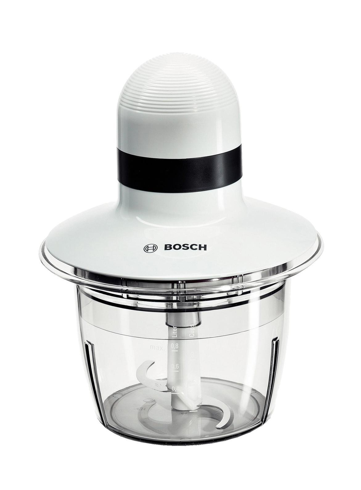 Bosch MMR08A1 измельчительMMR08A1Простой в эксплуатации измельчитель Bosch MMR08A1 прекрасно подойдет для приготовления овощных салатов, соусов, а также многих других блюд. Чаша-измельчитель с рядом лопастных ножей для измельчения мяса, рыбы, овощей и пр. Компактная, объём не превышает 0.8 л. Чаша изготовлена из ударопрочного пластика, а нож - из нержавеющей стали. Мощность устройства составляет 400 Вт, а работа возможно только в одном режиме и с одной скоростью. При этом пользователь отдельно может активировать импульсный режим во избежание излишней нагрузки на мотор при нарезании твёрдых продуктов.
