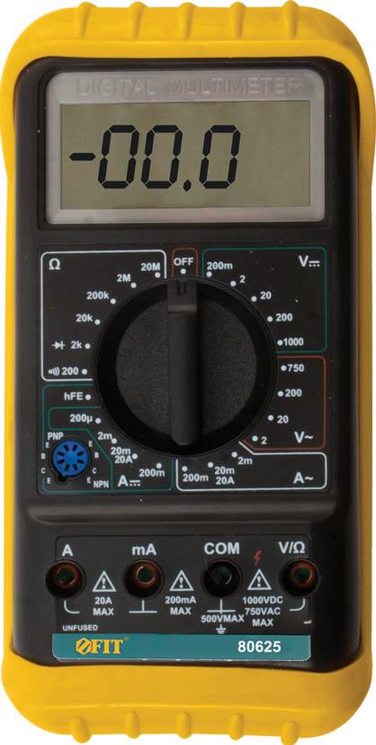 Мультиметр цифровой FIT. 8062580625Мультиметр цифровой FIT оборудован жидкокристаллическим дисплеем. Предназначен для измерения напряжения постоянного тока VDC, напряжения переменного тока VAC, постоянного тока DC и переменного тока АС, сопротивления, проверки диодов, целостности цепи. Это превосходный измерительный прибор, который удобен и прост в эксплуатации. Мягкий протектор с подставкой для защиты мультиметра и удобства использования.Индикация разряда батареиДиапазон измерения напряжения постоянного тока: 0,1 мВ - 1000 ВДиапазон измерения напряжения переменного тока: 0,1 В - 750 ВДиапазон измерения величины постоянного тока: 1 мкА - 20 АДиапазон измерения сопротивления цепи постоянному току: 0,1 Ом - 20 МОмПитание: от 1 батарейки 9 В (тип Крона) Характеристики: Материал: пластик, металл. Размеры мультиметра: 16 см х 8 см х 3 см. Размеры дисплея: 6 см х 2,5 см. Размеры упаковки: 21 см х 13 см х 5,5 см.