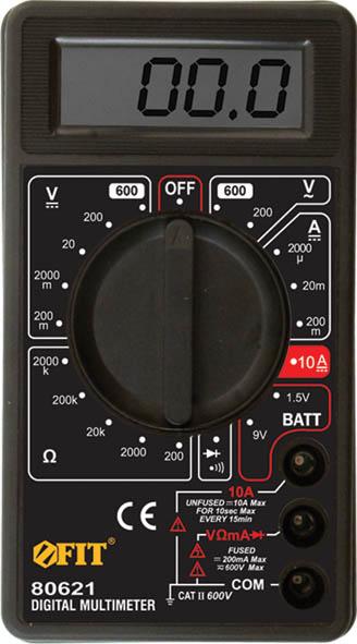 Мультиметр цифровой FIT, 600 В. 8062180621Мультиметр цифровой FIT оборудован жидкокристаллическим дисплеем. Предназначен для измерения напряжения постоянного тока VDC, напряжения переменного тока VAC, постоянного тока DC и переменного тока АС, сопротивления, проверки диодов, целостности цепи. Это превосходный измерительный прибор, который удобен и прост в эксплуатации. Характеристики: Материал: пластик, металл. Размеры мультиметра: 7 см х 12 см х 2,5 см. Размеры дисплея: 5 см х 1,5 см. Размеры упаковки: 10 см х 14,5 см х 4 см.