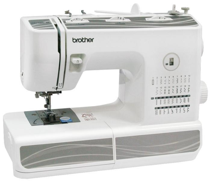 Brother Classic 40 швейная машинаClassic 40Brother Classic 40 выполняет 37 операций, в частности, петли в режиме автомат, эластичные, прямые, эластичные потайные, оверлочные и декоративные строчки. Данная модель предполагает возможность регулировки стежка, позиционирования иглы, а также шитья двойной иглой.Кроме того, производитель одарил технику и такими функциями, как контроль балансировки натяжения нити, автоматическое отключение намотки шпульки, клавиша REVERS (обратное направление шитья), система «свободный рукав». Швейная машина комплектуется лапками, ножной педалью, шпульками, отверткой, набором игл, ящиком для швейных аксессуаров и т.д.