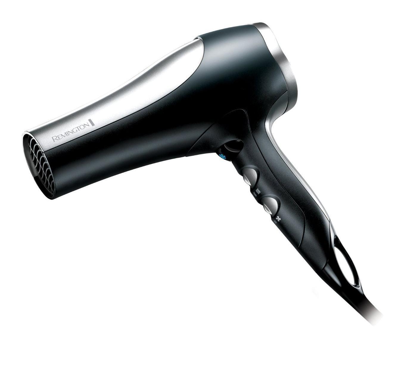 Remington D5017 Pro 2100 фенD5017Remington D5017 может по праву сравниваться с профессиональными моделями. Невероятно мощный - 2100 Вт, что позволяет развивать высокую скорость воздушного потока, тем самым ускорять процесс сушки. Это значит, что волосы принимают желаемую форму именно в результате намеренного воздействия феном, а не высыхают естественным путем, в произвольной форме. Удобным дополнением является возможность регулировать температуру и скорость водушного потока.Благодаря комфортной регулировке температуры и мощности этот фен подойдет для любого типа волос. Если у Вас здоровые и крепкие волосы - можно смело экспериментировать с насадками, и использовать различные режимы работы. В случае если же у Вас окрашенные, слабые или ломкие волосы, или же необходим бережный уход, по каким либо другим причинам, у этого фена найдется режим который подойдет именно Вам.