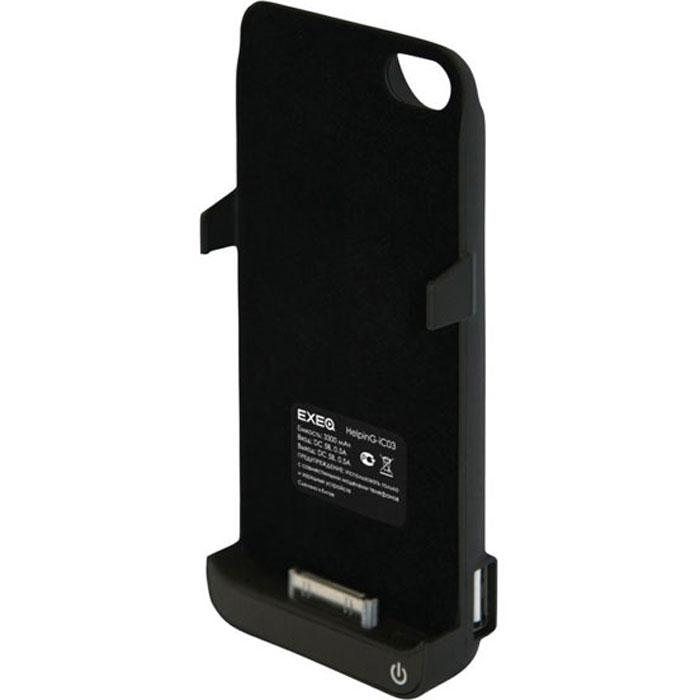 EXEQ HelpinG-iC03 чехол-аккумулятор для iPhone 4/4S, Black (3300 мАч, USB-порт, клип-кейс)HelpinG-iC03 BLExeq HelpinG-iC03 – мощный чехол-аккумулятор для iPhone 4S и 4 с возможностью подзарядки других электронных устройств. Компактный чехол HelpinG-iC03 позволит надежно защитить заднюю крышку телефона от царапин и загрязнений, а мощный аккумулятор продлит часы работы вашего смартфона в несколько раз! Слушайте любимую музыку, смотрите фильмы, наслаждайтесь серфингом в интернет – с Exeq HelpinG-iC03 вам больше не придется беспокоиться о батарее вашего смартфона! Заряжается чехол-аккумулятор от зарядного устройства телефона, причем заряжать оба устройства можно не извлекая телефон из чехла. Так для зарядки чехла-аккумулятора просто подсоедините зарядное устройства к чехлу, а для зарядки телефона, подсоедините зарядное устройство и нажмите кнопку питания на чехле. Также чехол-аккумулятор HelpinG-iC03 оснащен USB-портом – емкости устройства хватит и для подзарядки дополнительных электронных устройств. Exeq HelpinG-iC03 – надежная защита и своевременная подзарядка!