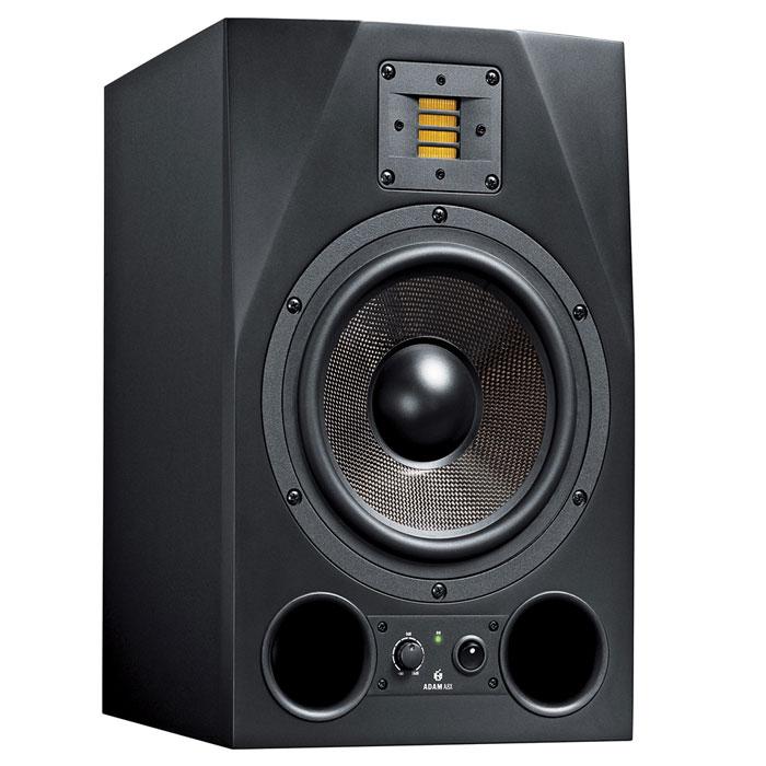 ADAM A8X мониторная акустика (1 шт.)MCI44986ADAM A8X подходит как для ближнего, так и для среднего поля. Идеальное соотношение цена/качество делают данную акустику идеальным выбором для мониторинга в ближнем/среднем полях.Модель A8X оборудована X-ART твитером и 8.5-дюймовым средне-/низкочастотным динамиком, предназначенным для воспроизведения очень глубокого и исключительно плотного баса.Верхние углы A8X скошены для минимизации интерференционных искажений, вызванных отражённым сигналом. На передней панели расположен двойной фазоинвертор, что обеспечивает высокую отдачу на границе низкочастотного диапазона.Благодаря усилителю класса A/B и мощному усилителю для мидвуфера, монитор A8X является самым мощным монитором в серии AX. Задняя панель имеет регулировку чувствительности входа, два эквализующих фильтра. Имеется как балансный (XLR), так и небаласный (RCA) вход.Частота кроссовера: 2300 Гц
