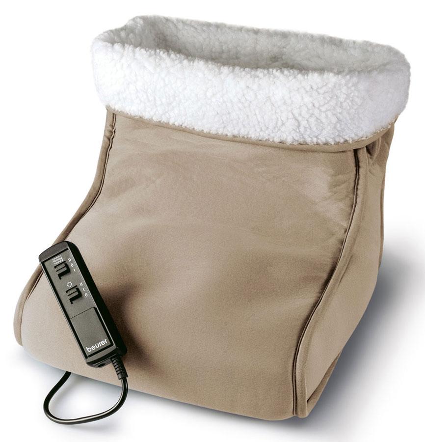 Электрогрелка для ног Beurer FWM401092028Электрическая грелка выполнена в виде большого сапога. Удобная форма грелки позволяет одевать ее сразу на две ноги. К тому главным преимуществом Beurer FWM40 является наличие функции массажа.Сочетание согревающего эффекта и вибрационного массажа способно творить чудеса. Прекрасное самочувствие и бодрость духа после нескольких минут таких процедур вам обеспеченны.Для обеспечения результативного массажа следует включить «сапог» как минимум за 15-20 минут до начала сеанса теплотерапии.Съемная, стирающаяся плюшевая подкладкаДве ступени массажа: успокаивающий и освежающий массажВибрационный массажТепло и массаж можно применять и независимо друг от другаСистема защиты от перегрева BSSРаботает от сети