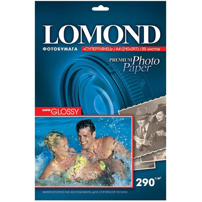 Lomond Super Glossy Bright 290/A4/20л суперглянцевая lomond 0102050 lomond