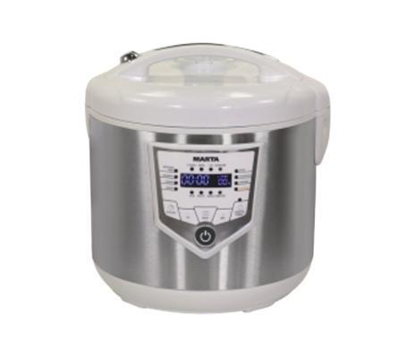 Marta MT-4301, White Steel мультиваркаMT-4301, White SteelИнновационная мультиварка Marta MT-4301 с немецким полимерным покрытием утолщенной чаши Greblon® C3 имеет 15 автоматических программ и 30 ручных, снабжена крайне актуальной функцией Отмена автоподогрева и внутренней съемной панелью крышки для удобства мытья. Яркий дисплей, видный при любом освещении и под любым углом. Программа мультиповар для полной свободы творчества!