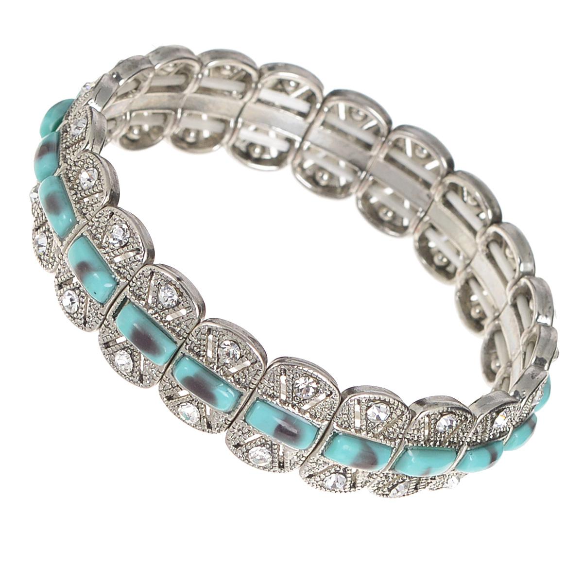 Браслет AtStyle247, цвет: серебряный, бирюзовый. T-B-8209-BRAC-SL.TURQUOISГлидерный браслетИзысканный женский браслет AtStyle247 выполнен из металлического сплава меди, цинка и железа в серебряном цвете. Модель состоит из прямоугольных декоративных элементов, оформленных вставками бирюзового цвета, стилизованными под камни, и усыпанных стразами. Эластичная прочная резинка позволит идеально зафиксировать модель на руке.Это стильное украшение элегантно завершит модный образ и подчеркнет ваш утонченный вкус.