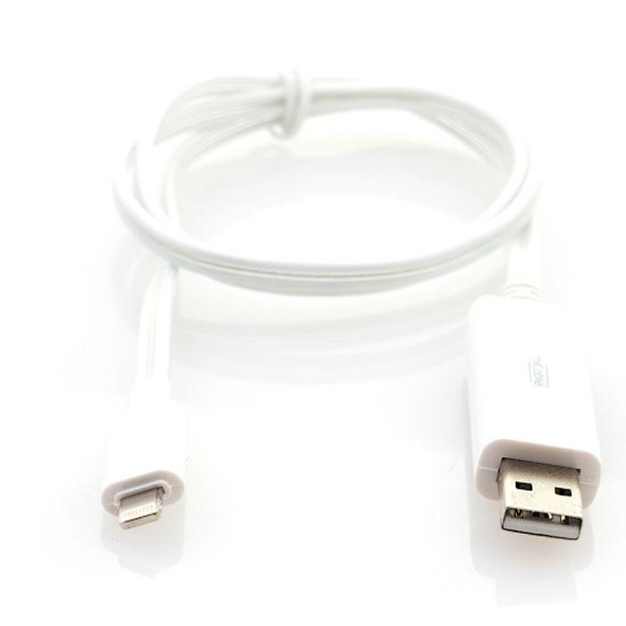 Gmini mCable MEL300, White кабель USBАК-00000519Кабель с подсветкой Gmini mCase MEL300 позволяет подключать к порту USB компьютера или зарядного устройства смартфоны, планшеты, MP3-плееры с разъемами Lightning. Во время подключения устройства по белому кабелю бегут огни синего цвета., а по черному кабелю - огни зеленого цвета. После полной зарядки устройства огни останавливаются.