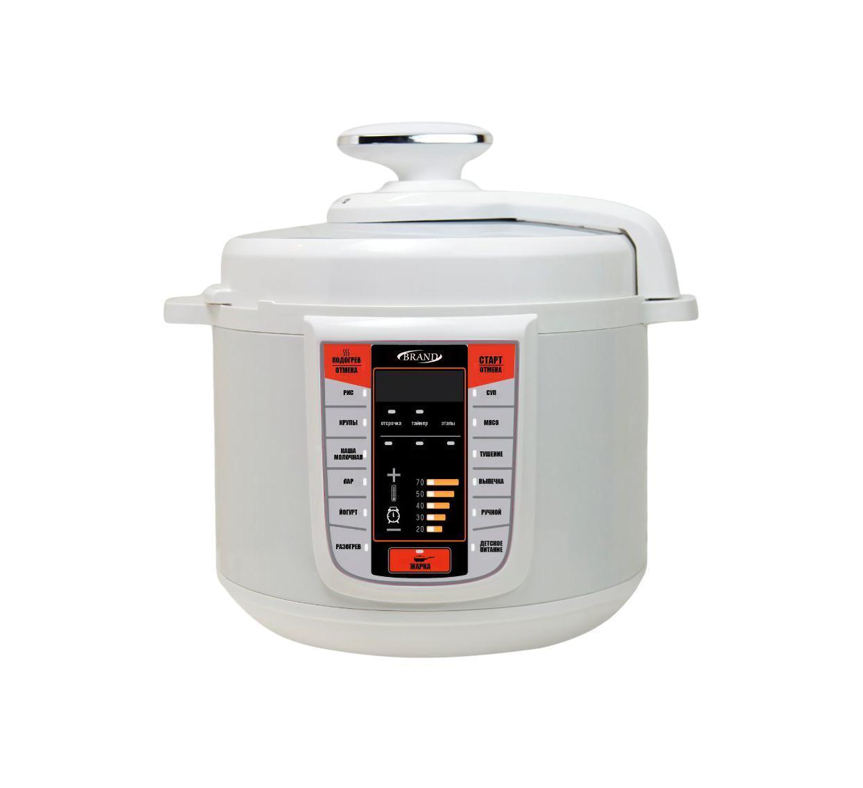Brand 6051 White мультиварка-скороварка6051BRAND 6051 - это мультиварка нового поколения, которая позволит вам уменьшить время и ручной труд на приготовление еды, не экономя на качестве пищи. Благодаря полной герметизации, все продукты сохраняют полезные вещества. С функцией поддержания температуры ваши блюда будут всегда подогретыми. Кроме того, эта модель дает возможность готовить как при обычном, так и при высоком давлении, что поможет сохранить как можно больше вкуса и полезных свойств ваших блюд. Всем, кто ведет активный образ жизни и просто не может позволить тратить лишнее время на готовку, мультиварка предлагает очень удобную функцию отсрочки приготовления на 24 часа. А для того, чтобы эта скороварка прослужила вам как можно дольше, в ней предусмотрены регулятор давления и датчик контроля температуры. Все эти меры позволяют устройству вовремя отключиться и избежать перегрева или избыточного давления.Эта невероятно умная модель прекрасно впишется в любую кухню за счет современного дизайна и позволит баловать семью новыми кулинарными изысками каждый деньУВАЖАЕМЫЕ КЛИЕНТЫ! Обращаем ваше внимание на тот факт, что объем чаши указан максимальный, с учетом полного наполнения до кромки. Шкала на внутренней стенке имеет меньший литраж.