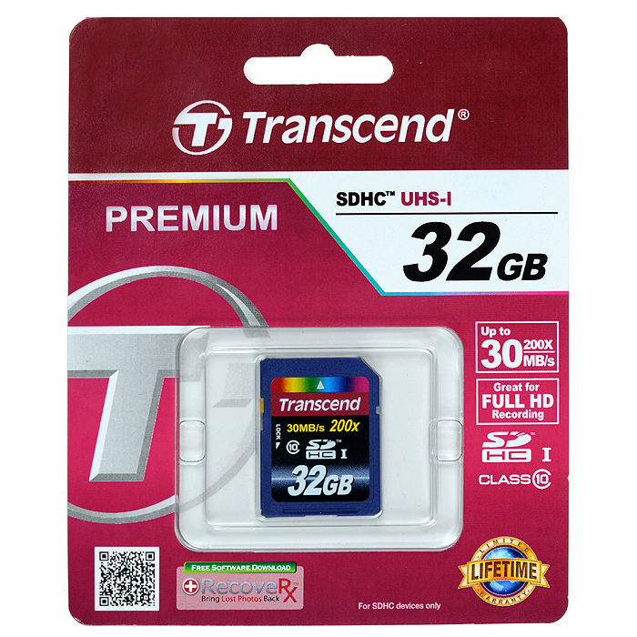 Transcend SDHC Class 10 32GB карта памятиTS32GSDHC10Высокотехнологичные устройства, записывающие изображения, видео и звук, требуют всё более высоких скоростей работы и объёмов памяти для сохранения произведений нашего творчества.Карты памяти Transcend Secure Digital High Capacity Class 10 поддерживают файлы формата FAT32 и вы можете использовать их для хранения музыкальных коллекций, альбомов фотографий, фильмов или использовать в устройствах, требующих большого объёма памяти.Внимание: перед оформлением заказа убедитесь в поддержке вашим электронным устройством карт памяти данного объема.
