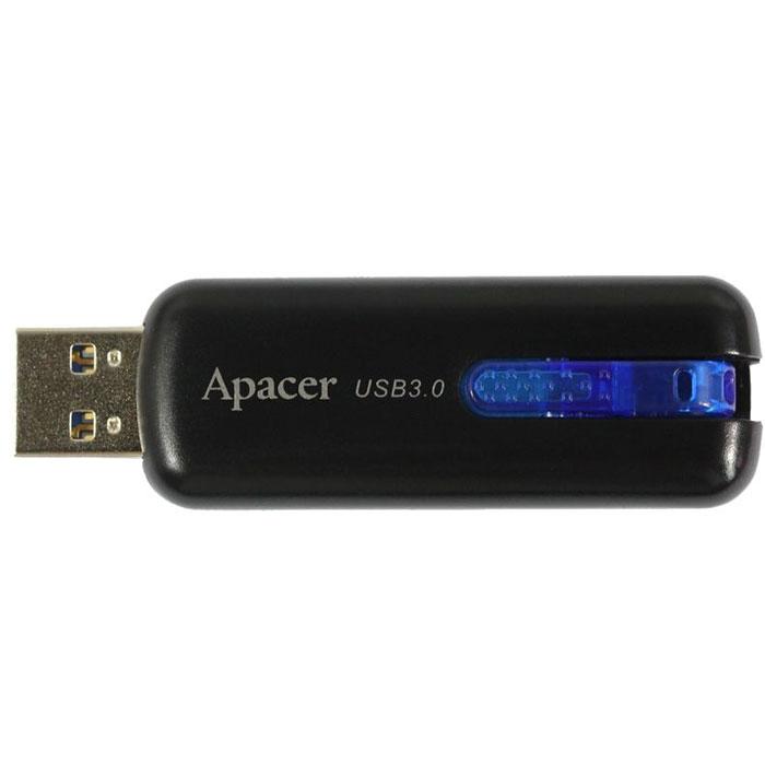 """Apacer AH354 32GB, Black USB флеш-накопительAP32GAH354B-1Благодаря спецификациям USB 3.0, вместимость самого объемного Apacer AH354 в рамках модельного ряда достигает 32 Гб. Эксклюзивная система """"U-Ring"""" идеально вписывается в дизайн новинки, сочетая в себе удобную систему крепления и скрытый выдвижной разъем. Ярко-синий цвет крепления приятно выглядит и притягивает взгляд."""
