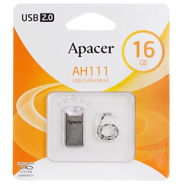 Apacer AH111 16GB, Crystal USB флеш-накопительAP16GAH111CR-1Apacer AH111 Crystal - использует технологию чипа на карте, и имеет повышенную водоустойчивость, пыленепроницаемость и ударопрочность, маленький и тонкий корпус.USB-накопитель поддерживает специальную программу-архиватор Apacer Compression Explorer (ACE), которая может архивировать файлы, сокращая объем хранимых данных.