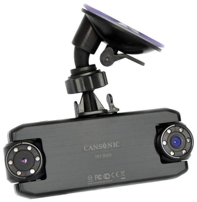 Cansonic FDV 707 Duo видеорегистратор707 DuoМодель CANSONIC 707 DUO является обновлением модели CANSONIC FDV-707 Light. В обновленную прошивку этого поколения было внесено более 30 улучшений, исправлений и оптимизаций, что позволяет использовать видеорегистратор даже в условиях нестабильного электропитания. Аппаратная часть видеорегистратора получила CMOS-матрицу нового поколения, которая в сочетании со встроенным программным обеспечением устройства обеспечивает отличную контрастность и четкость видео и фотозаписи, в том числе при резком изменении освещенности.CASONIC 707 DUO – надежный и функциональныйвидеорегистратор, оборудованный двумя поворотными камерами. Разработан на новейшей аппаратной платформе CANSONIC OS1 (System-on-a-Chip). Широкоугольный объектив первой камеры предназначен для видеосъемки общей дорожной обстановки, вторая, благодаря использованию телеобъектива позволяет зафиксировать автомобильные номерные знаки на расстоянии до 30 метров. Оба объектива CANSONIC оснащены стеклянной шестилинзовой оптикой, которая в сочетании с инфракрасной светодиодной подсветкой позволяет добиться впечатляющих результатов видеосъемки даже в темное время суток. Цветной TFT-LCD дисплей высокого разрешения позволяет просматривать фото и видеофайлы, находящиеся на microSD карте, не подключая видеорегистратор к внешним устройствам. С помощью ультракомпактного кронштейна Вы всегда с легкостью можете зафиксировать Ваш видеорегистратор CANSONIC в необходимом положении, а длины шнура питания автомобильного зарядного устройства (3.5 метра) вполне достаточно для того, чтобы незаметно и аккуратно проложить его под обивкой боковых стоек и потолка. В случае возникновения ДТП, кнопка аварийной записи сохранит видеозапись происшествия внестираемую область памяти, благодаря чему Вы можете не беспокоиться за сохранность отснятых материалов. Автомобильный видеорегистратор CANSONIC 707 DUO сочетает в себе уникальный дизайн, инновационные технологии и надежность, проверенную временем.