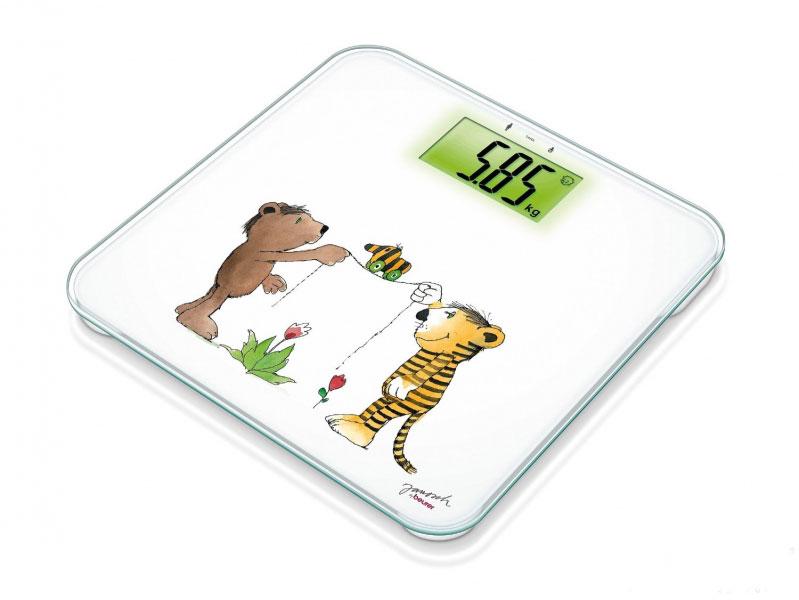 Beurer JGS 22 - это электронные весы, выполненные в современном стильном дизайне с детским рисунком на платформе. Они обладают автоматическим включением и выключением. Весы могут измерять до 150 кг и имеют возможность взвешивания ребенка на руках.