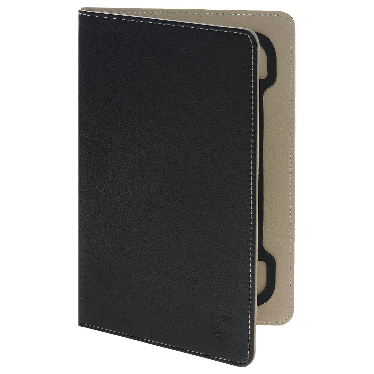 Vivacase Basic кожаный чехол-обложка для планшетов 7-8, Black (VUC-CM007-bl)VUC-CM007-blТонкий чехол-обложка Viva Basic для планшетов 7-8 - прекрасный выбор для тех, что заботится не только о сохранности своего устройства, но и о стиле. Он изготовлен из качественной искусственной кожи, которая по своим характеристикам не уступает натуральной. Мягкая подкладка графитового цвета приятна на ощупь и предотвращает появление царапин на корпусе и дисплее. Резиновое крепление позволяет надежно зафиксировать электронное устройство внутри.