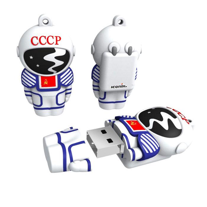 Iconik Космонавт 8GB USB-накопительRB-CCCP-8GBФлеш-накопитель Iconik Космонавт имеет весьма нестандартный дизайн. Накопитель ударопрочный и защищен резиновым корпусом, а высокая пропускная способность и поддержка различных операционных систем делают его незаменимым. Iconik Космонавт - отличный выбор современного творческого человека, который любит яркие и нестандартные вещи.