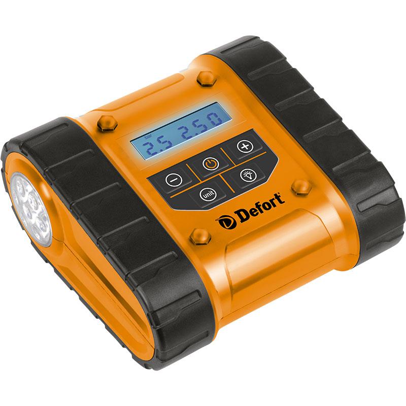 Компрессор автомобильный Defort DCC-300D98293951Автомобильный компрессор Defort DCC-300D применяется для накачки автомобильных шин, мячей, надувных матрасов, велосипедных шин и т.д. Компрессор оснащен манометром и штекером для подключения к 12-вольтовому разъему прикуривателя автомобиля.Особенности компрессора:- предустановка давления,- жидкокристаллический дисплей,- отсек для хранения проводов и шланга, - встроенный светодиодный фонарь,- морозоустойчивый ЖК-дисплей.