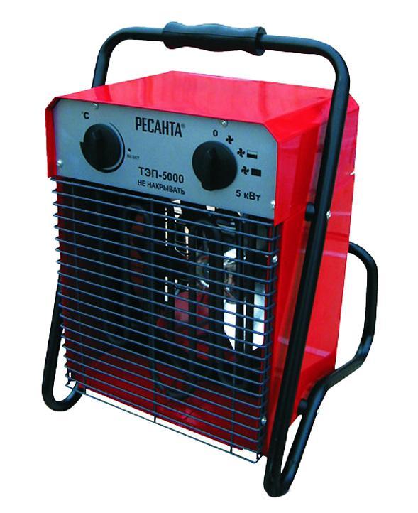 Тепловая пушка Ресанта ТЭП-5000ТЭП-5000Тепловая пушка Ресанта ТЭП-5000 – нагревательный прибор, предназначенный для обогрева различных помещений.Пушки тепловые электрические предназначены для вентиляции и обогрева производственных, общественных и вспомогательных помещений. Рабочее положение пушки — установка на полу. Тепловые пушки могут эксплуатироваться в районах с умеренным и холодным климатом в помещениях с температурой от минус 10 до плюс 40°С в условиях, исключающих попадание на него капель и брызг, а также атмосферных осадков.Электрическая тепловая пушка Ресанта ТЭП-5000 работает от сети 380 В. Предназначена для обогрева небольших нежилых помещений. Предусмотрено три режима работы : вентиляция без обогрева, вентиляция с частичным обогревом и вентиляция с полным обогревом. Низкий уровень шума - для комфортной эксплуатации.