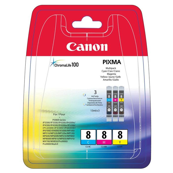 Canon CLI-8 Multipack набор картриджей (C/M/Y) для струйных МФУ/принтеров0621B029Набор из трех картриджей Canon CLI-8 Multipack для струйных принтеров и МФУ Canon.Цвета: Cyan (голубой), Magenta (пурпурный), Yellow (желтый)Формат бумаги: 10x15 смСовместимость: Pixma iP3300, iP3500, iP4200, iP4300, iP4500, iP5200, iP5300, MP500, MP520, MP800, MP830, MP530, MP510, MP600, MP610, MP810, MP470, MX850, MX700, iX5000, iX4000, iP6600D, iP6700D, MP970, Pixma Pro9000, Pixma Pro9000 Mark II
