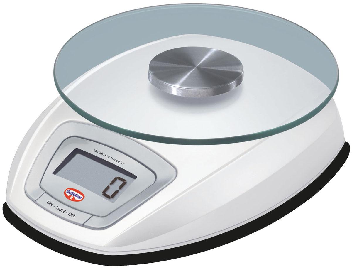 Весы кухонные Dr.Oetker, электронные, цвет: белый, до 5 кг1580Электронные кухонные весы Dr.Oetker придутся по душе каждой хозяйке и станут незаменимым аксессуаром на кухне. Корпус весов выполнен из пластика с цифровым ЖК-дисплеем. Весы выдерживают до 5 килограмм и оснащены съемной платформой из прочного стекла и нержавеющей стали. С помощью таких электронных весов можно точно контролировать пропорции ингредиентов.Диаметр платформы: 15,5 см.Размер весов (без платформы): 15 см х 19 см х 4 см.УВАЖАЕМЫЕ КЛИЕНТЫ!Обращаем ваше внимание, что весы работают от двух батареек типа АА напряжением 1.5V (входят в комплект).