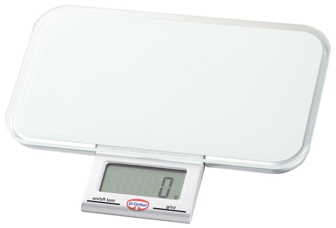 Весы кухонные Dr.Oetker, электронные, с выдвижным дисплеем, цвет: белый, до 10 кг1535Электронные кухонные весы Dr.Oetker придутся по душе каждой хозяйке и станут незаменимым аксессуаром на кухне. Корпус весов выполнен из пластика с выдвижным сенсорным ЖК-дисплеем. Весы выдерживают до 10 килограмм и оснащены платформой из прочного стекла. С помощью таких электронных весов можно точно контролировать пропорции ингредиентов.Точность измерения (до 5 кг): 1г.Точность измерения (от 5 кг до 10 кг): 2г.Размер весов (без учета дисплея): 23 см х 13 см х 2 см.УВАЖАЕМЫЕ КЛИЕНТЫ!Обращаем ваше внимание, что весы работают от одной батарейки CR 2032 (входит в комплект).