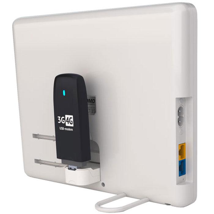 РЭМО Connect 3.5, White усилитель сигнала для USB модемовConnect 3.5Усилитель интернет-сигнала РЭМО Connect 3.5 предназначен для обеспечения стабильного доступа в Интернет через USB-радиомодемы в зонах неуверенного приема сигнала сетей GSM (GPRS/EDGE), 3G и 4G любых операторов. Также, благодаря встроенному функционалу WiFi-маршрутизатора UPVEL UR-312N4G все устройства, которым необходим доступ в Интернет, смогут свободно к нему подключиться в любой точке квартиры или загородного дома. Изделие поддерживает работу практически с любыми 3G/4G-модемами. При установке устройства не требуется приобретение дополнительных переходников и вскрытие модема, что сохраняет модему целостность и гарантию производителя.Некоторые 3G/4G модемы Билайн с оригинальной прошивкой не поддерживаются, поскольку они заблокированы и работают только вместе с программой для Windows. Стабильная работа со сторонними прошивками модемов БиЛайн не гарантируется.