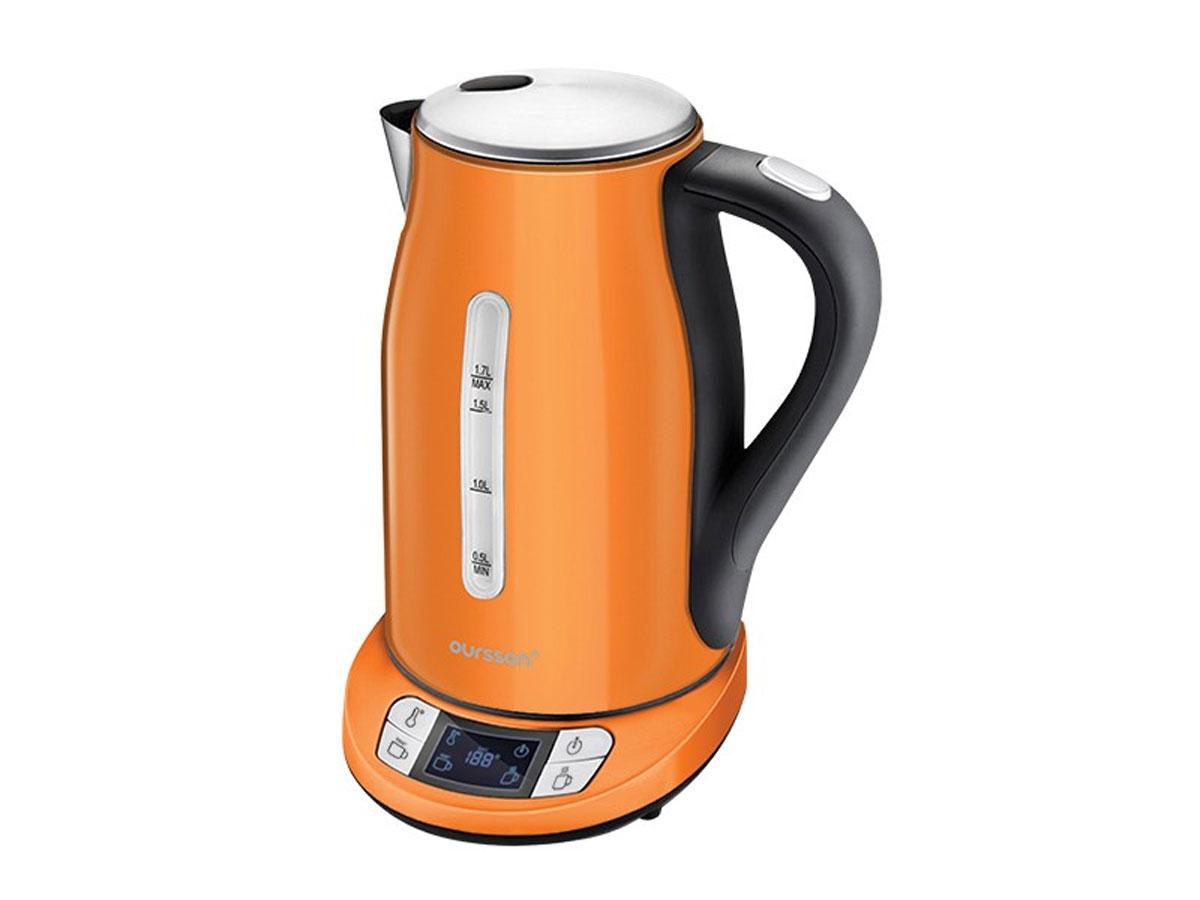 Oursson EK1775MD/OR, Orange электрочайникEK1775MD/OR OrangeПо словам экспертов, некоторые чаи не должны завариваться кипящей водой. Например, зеленый чай должен завариваться при температуре 70-80 °C, чаи улуны должны завариваться при 80-90 °C, вода для кофе (французского эспрессо) не должна быть выше 90 °C. Электрический чайник Oursson EK1775MD справится с этими задачами на ура, благодаря трем режимам работы, выбрать один из которых можно простым нажатием кнопки. Чайник Oursson EK1775MD/OR умеет не только кипятить воду, но также нагревать ее до определенной, нужной вам, температуры, а также поддерживать необходимую температуру в течение двух часов.